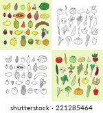 set of hand drawn vegetables... | Shutterstock . vector #221285464