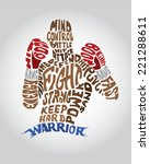 typo box warrior fighter figure  | Shutterstock .eps vector #221288611