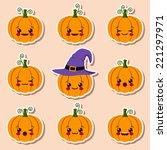 kawaii halloween pumpkins | Shutterstock .eps vector #221297971