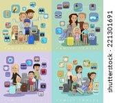 family travel against color... | Shutterstock .eps vector #221301691