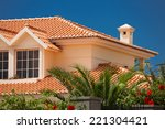 orange tiled roof of a large... | Shutterstock . vector #221304421