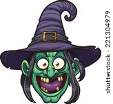 Cartoon Witch Face. Vector Cli...