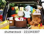 moving boxes and suitcases in... | Shutterstock . vector #221343307