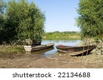 old boat on vistula river | Shutterstock . vector #22134688