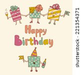 card on birthday with gifts | Shutterstock .eps vector #221354371