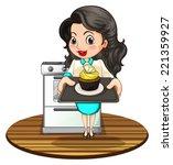 illustration of a woman baking... | Shutterstock . vector #221359927