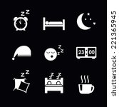 vector sleep concept icons set  ... | Shutterstock .eps vector #221365945