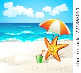 summer beach with cartoon... | Shutterstock . vector #221368051
