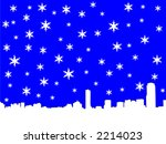 Boston skyline in winter illustration with snowflakes