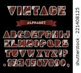 set of abc letters and numbers... | Shutterstock .eps vector #221408125