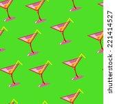 martini seamless vector pattern ... | Shutterstock .eps vector #221414527