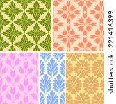 damask floral seamless patterns   Shutterstock .eps vector #221416399