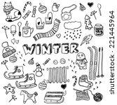 winter doodles collection.... | Shutterstock .eps vector #221445964