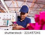 pretty young african worker... | Shutterstock . vector #221457241