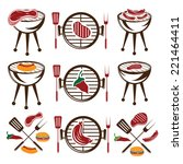 bbq set of meat hot dog and... | Shutterstock .eps vector #221464411