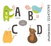 cute zoo alphabet with cartoon...   Shutterstock . vector #221473795