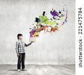 young boy splashing colorful... | Shutterstock . vector #221475784
