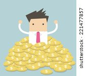 businessman sitting in a pile...   Shutterstock .eps vector #221477857