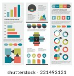 collection of flat infographics ... | Shutterstock .eps vector #221493121
