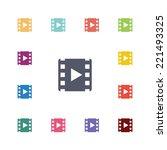video flat icons set. open...   Shutterstock .eps vector #221493325