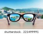 cityscape focused in glasses... | Shutterstock . vector #221499991