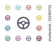 wheel flat icons set. open...   Shutterstock .eps vector #221502721