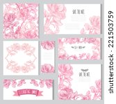 elegant cards with floral rose... | Shutterstock .eps vector #221503759