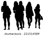 silhouette young girls on white ... | Shutterstock . vector #221514589