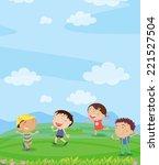 illustration of kids playing... | Shutterstock . vector #221527504