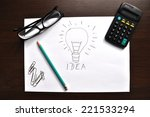 a light bulb drawn on a sheet... | Shutterstock . vector #221533294