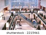 Shopping mall interior with christmas decorations - stock photo