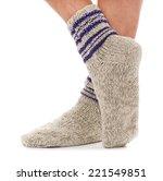Knitted Socks On The Man Feet...