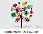 tree with cloud of application. ... | Shutterstock .eps vector #221563609