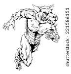 a werewolf wolf man character... | Shutterstock .eps vector #221586151