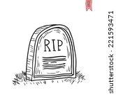 tombstone halloween icon.... | Shutterstock .eps vector #221593471