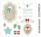 set of christmas vector...   Shutterstock .eps vector #221598514