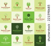 tree flat icons set logo ideas... | Shutterstock .eps vector #221598685