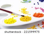 paint palette with plastic...   Shutterstock . vector #221599975