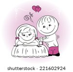 couple in love. a man makes a... | Shutterstock .eps vector #221602924