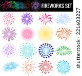 colorful fireworks on white... | Shutterstock .eps vector #221603227