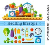 healthy lifestyle  a healthy... | Shutterstock .eps vector #221605231