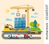 construction. process  tools ... | Shutterstock .eps vector #221605237