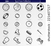 sport icon collection. outlines.... | Shutterstock .eps vector #221607217