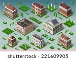 isometric building city palace... | Shutterstock .eps vector #221609905