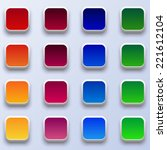 16 website colored  buttons   Shutterstock .eps vector #221612104