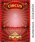 greeting xmas circus poster. a... | Shutterstock .eps vector #221616424
