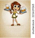 oktoberfest  brown haired girl... | Shutterstock .eps vector #221619265