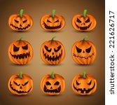 set of scary halloween pumpkins | Shutterstock .eps vector #221626717