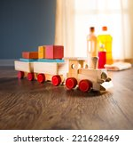 wooden toy train with wood... | Shutterstock . vector #221628469