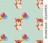 fox with balloons greeting card ... | Shutterstock . vector #221634931